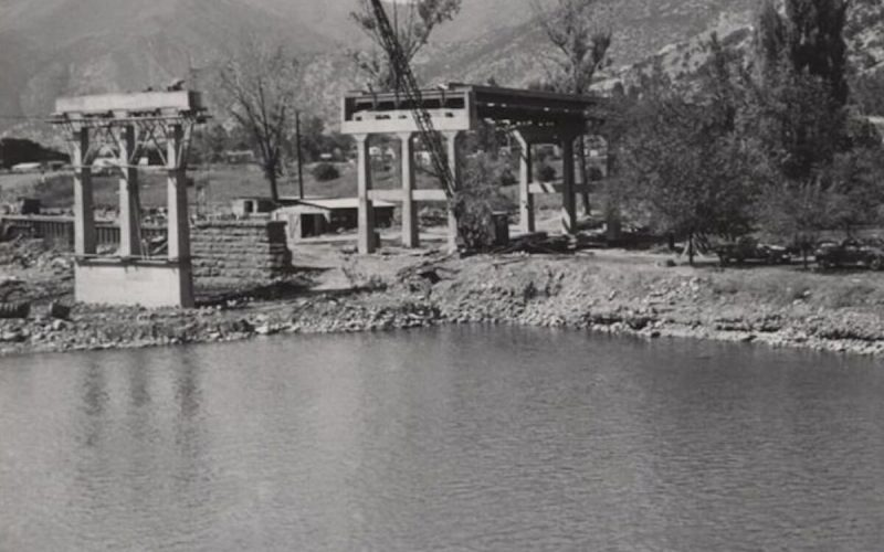 Original bridge construction over the Colorado River